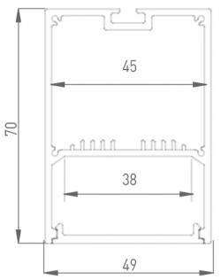 LS4970 Накладной алюминиевый профиль 2,5метра