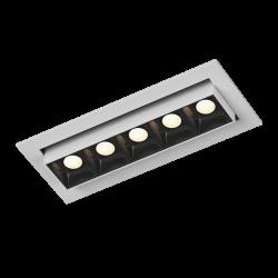 Светильник светодиодный потолочный встраиваемый Наклонный, серия DL-UM9, Белый + черный, 6Вт, IP20, Теплый белый (3000К)