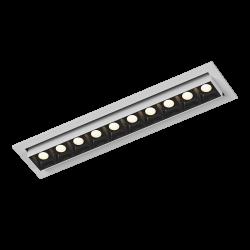 Светильник светодиодный потолочный встраиваемый Наклонный, серия DL-UM9, Белый + черный, 12Вт, IP20, Теплый белый (3000К)