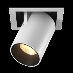 Светильник светодиодный потолочный встраиваемый Поворотно-выдвижной, серия SPL, Матовый белый + черный, 12Вт, IP20, Теплый белый (3000К)