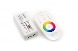 Контроллер RGBW радиоуправляемый с белым сенсорным пультом 12/24в 24А