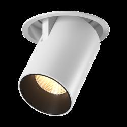 Светильник потолочный светодиодный потолочный встраиваемый поворотно-выдвижной, серия SPL, Матовый белый + черный, 12Вт, IP20, Теплый белый (3000К)